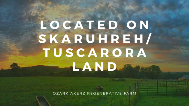 The farm at sunrise with overlayed text - Located on Skaruhreh/Tuscarora Land